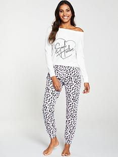 v-by-very-soul-healing-off-the-shoulder-pyjama-set-print