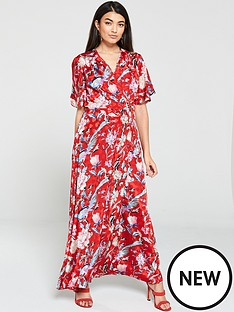 yas-oria-floral-printed-wrap-dress-print