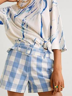mango-gingham-check-shorts-sky-blue