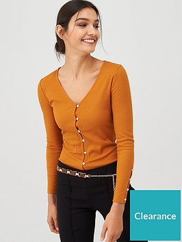 v-by-very-button-through-v-neck-ribbed-top-brown