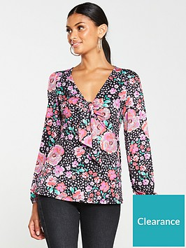 v-by-very-floral-tie-front-top-print