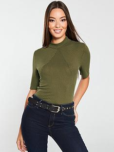 v-by-very-chevron-ribbed-top-olive