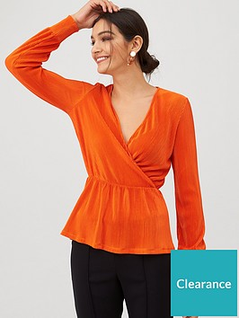 v-by-very-plisse-wrap-top-orange