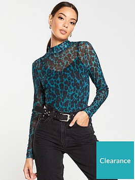 v-by-very-leopard-mesh-high-neck-top-green