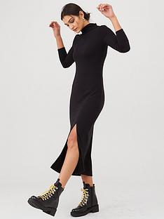 v-by-very-cut-and-sew-roll-neck-midi-dress-black