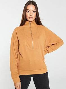v-by-very-zipper-funnel-neck-sweat-camel