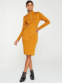 v-by-very-ribbed-zip-front-dress--nbspmustard