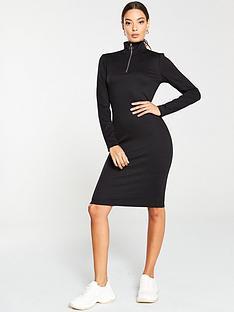 v-by-very-ribbed-zip-dress-black