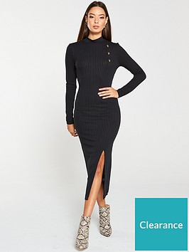 v-by-very-ribbed-high-neck-mock-horn-button-midi-dress-black