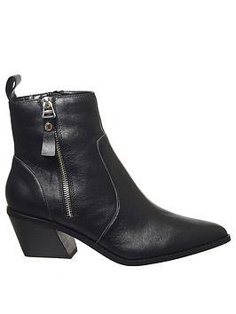 office-arrow-western-side-zip-leather-boots-black