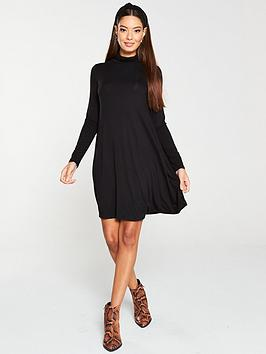v-by-very-roll-neck-fit-amp-flare-dress-blacl