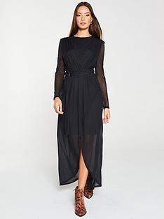 v-by-very-mesh-asymmetric-hem-dress-black