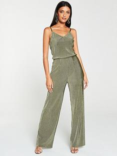 v-by-very-velvet-plisse-jumpsuit-khaki