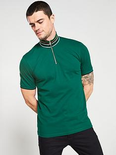 selected-homme-chip-short-sleeve-zipped-polo-shirt-green