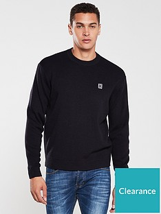 armani-exchange-knitted-crew-neck-jumper-navy