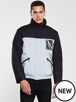 6028231fc Reflective Contrast Padded Jacket - Black/Silver