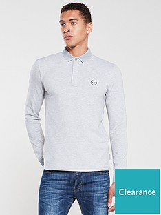 armani-exchange-long-sleeve-logo-polo-shirt-grey