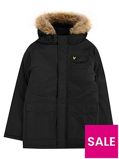 lyle-scott-lyle-scott-boys-fleece-lined-faux-fur-hood-parka