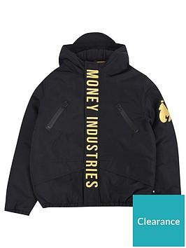 money-boys-gold-padded-hooded-jacket-black