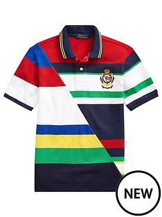 1505d3c9f Ralph Lauren Boys Short Sleeve Colourblock Badge Polo Shirt - White Multi