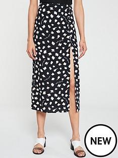 92e53d95ab River Island River Island X Caroline Flack Printed Midi Skirt - Black