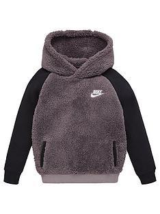 nike-sportswear-childrens-sherpanbsphoodie-grey