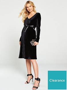 mama-licious-velvet-long-sleeve-maternitynbsp-dress-black