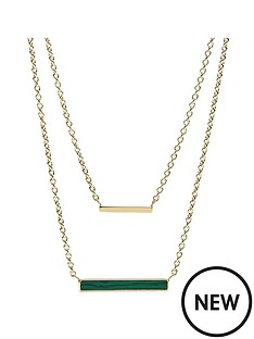 fossil-fossil-vintage-glitz-gold-and-malachite-double-layer-bar-pendant-ladies-necklace