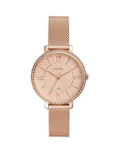 fossil-fossil-jacqueline-rose-gold-date-dial-rose-gold-stainless-steel-mesh-strap-ladies-watch