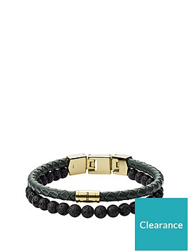 fossil-fossil-vintage-casual-black-lavastone-and-green-leather-double-layer-mens-bracelet