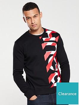 hugo-dosaka-chevron-print-sweatshirt-black