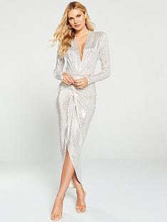 u-collection-forever-unique-long-sleeve-sequin-wrap-dress--nbsp-silver