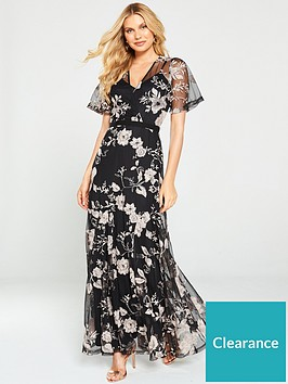 u-collection-forever-unique-floral-overlay-maxi-dress-black