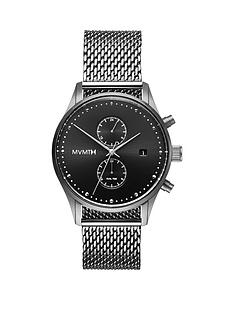 mvmt-mvmt-voyager-black-and-silver-detail-chronograph-dial-stainless-steel-mesh-strap-mens-watch