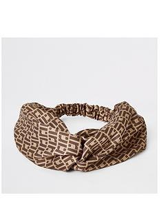 river-island-logo-print-headband-brown