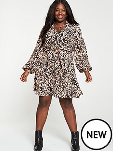 v-by-very-curve-horn-ring-printed-dress-animal-print