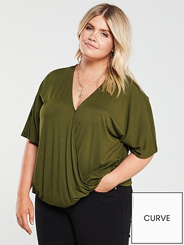 v-by-very-curve-jersey-wrap-top-khaki