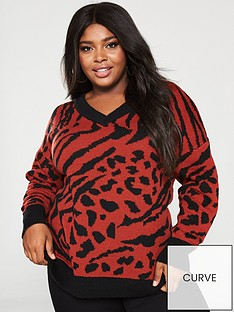 v-by-very-curve-animal-off-the-shoulder-jumper-rust