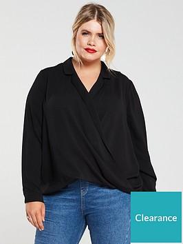 v-by-very-curve-wrap-step-back-hem-blouse-black