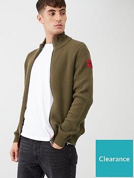 hugo-sambre2-zip-cardigan-khaki