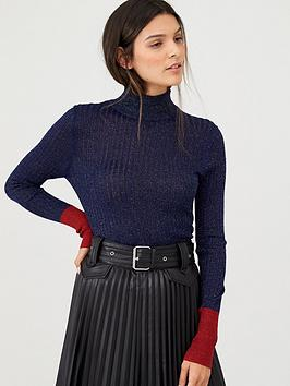 v-by-very-high-neck-skinny-rib-lurex-jumper-with-contrast-tipping