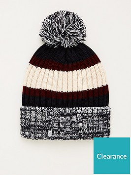 very-man-colour-block-bobble-hat-blackwhitecream
