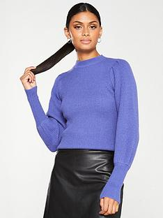 v-by-very-puff-sleeve-rib-knit-jumper-purple