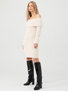 v-by-very-chunky-off-the-shoulder-dress-cream