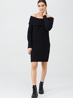 v-by-very-chunky-off-the-shoulder-dress-black