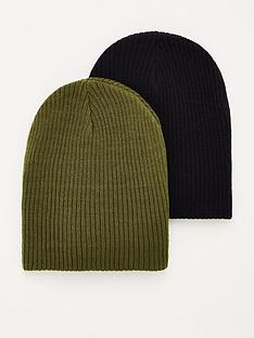 v-by-very-two-pack-slouch-beanies-blackkhaki