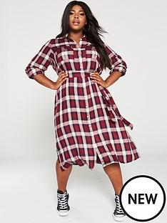 v-by-very-curve-check-midi-shirt-dress-multi