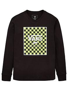 vans-print-box-check-long-sleeve-top-blackgreen