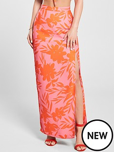 f1d9b30bb Kate Wright Neon Print Side Split Maxi Skirt - Floral Print