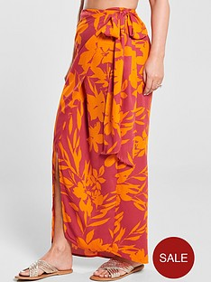 1600368462: Kate Wright Side Tie Maxi Skirt - Floral Print